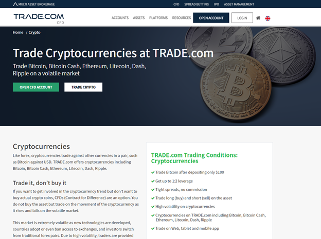 TRADE.com cryptocurrency CFDs trading