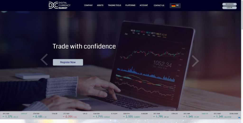 DCM homepage with access to trading information
